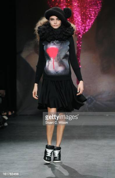 A model showcases designs at the Sister by Sibling presentation during London Fashion Week Fall/Winter 2013/14 at ICA on February 16 2013 in London...