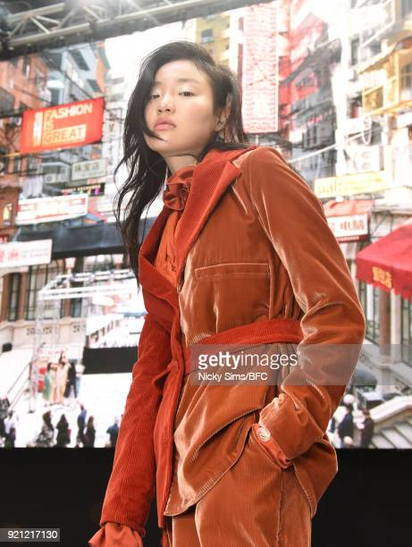 A model showcases designs at the steventai presentation during London Fashion Week February 2018 at British Foreign and Commonwealth Office on...