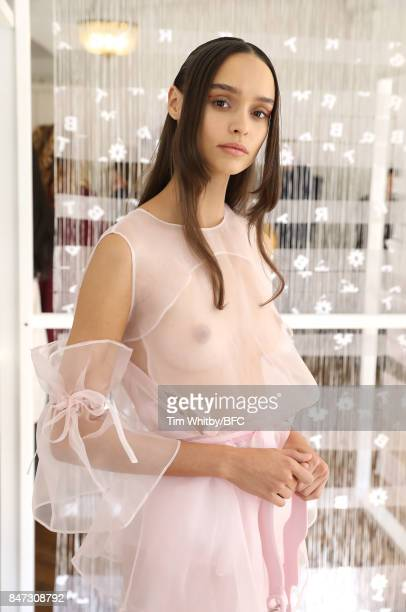A model showcases designs at the Xiao Li presentation during London Fashion Week September 2017 on September 15 2017 in London England