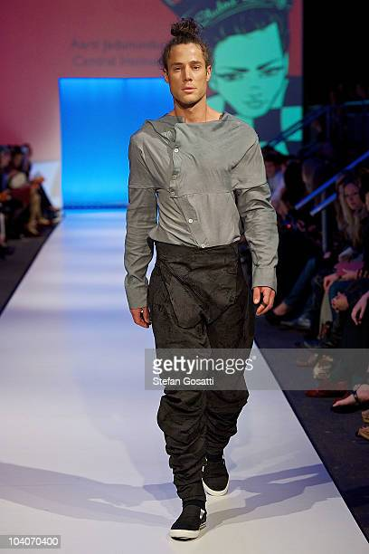 Model showcases designs by Aarti Jadunundun during the Student Runway show as part of Perth Fashion Week 2010 at Fashion Paramount on September 13,...