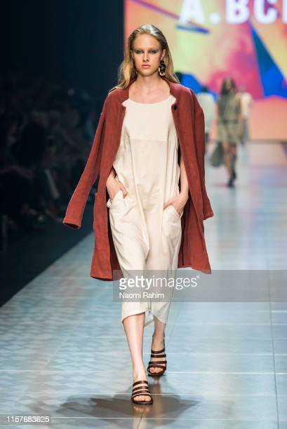 Model showcases designs by A.BCH during Runway 6 at Melbourne Fashion Festival on March 9, 2019 in Melbourne, Australia.