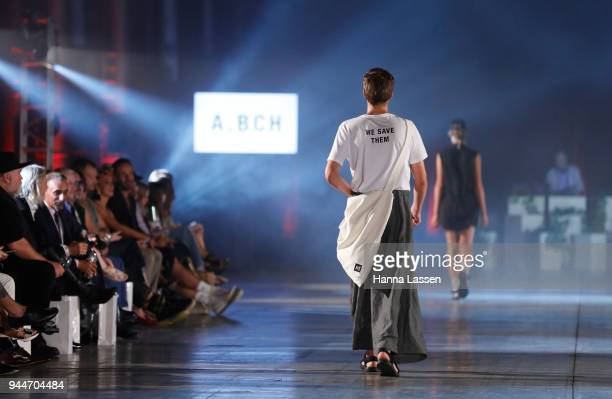 A model showcases designs by ABCH during the Jurassic World Fallen Kingdom Runway Show on April 11 2018 in Sydney Australia
