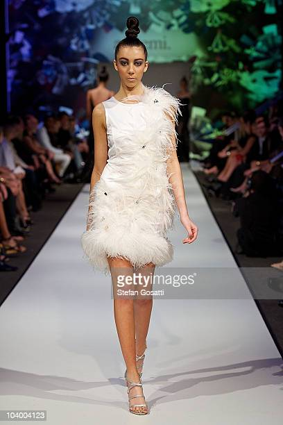 Model showcases designs by Ae'lkemi during the WA Designers Collection 1 catwalk show as part of Perth Fashion Week 2010 at Fashion Paramount on...