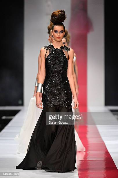 Model showcases designs by Ae'lkemi on the catwalk during StyleAID 2012 at the Burswood Entertainment Complex on July 27, 2012 in Perth, Australia.