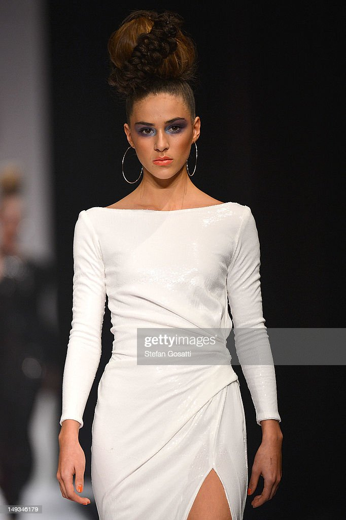 A model showcases designs by Ae'lkemi on the catwalk during StyleAID 2012 at the Burswood Entertainment Complex on July 27, 2012 in Perth, Australia.