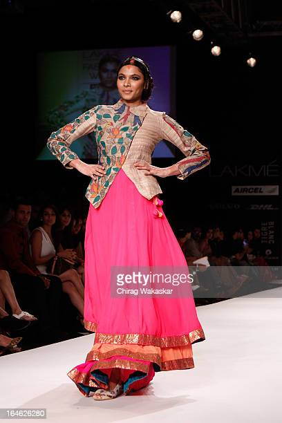 A model showcases designs by Agnimitra Paul on the runway during day four of Lakme Fashion Week Summer/Resort 2013 on March 25 2013 at Grand Hyatt in...