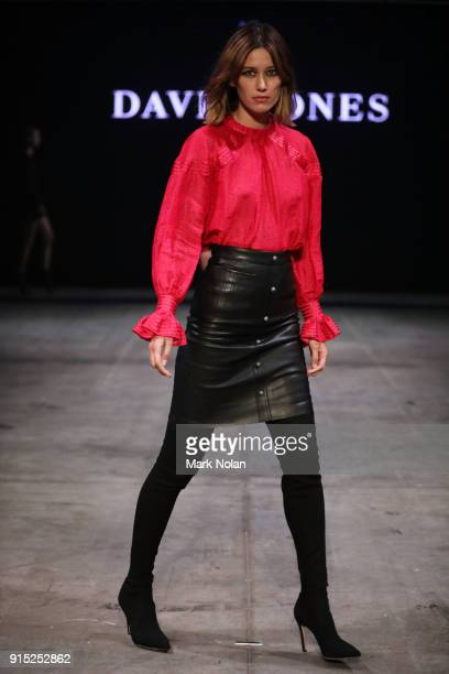 A model showcases designs by Aje during the David Jones Autumn Winter 2018 Collections Launch at Australian Technology Park on February 7 2018 in...