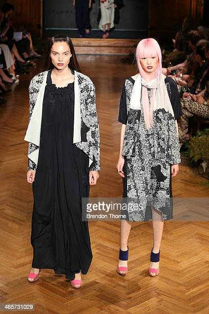 A model showcases designs by Akira at the David Jones A/W 2014 Collection Launch at the David Jones Elizabeth Street Store on January 29 2014 in...