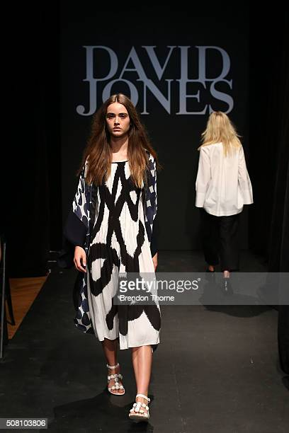 A model showcases designs by Akira during rehearsal ahead of the David Jones Autumn/Winter 2016 Fashion Launch at David Jones Elizabeth Street Store...