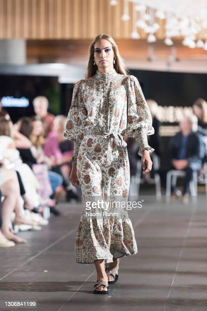 Model showcases designs by Alemais during the Gala Runway at Melbourne Fashion Festival at National Gallery of Victoria on March 11, 2021 in...