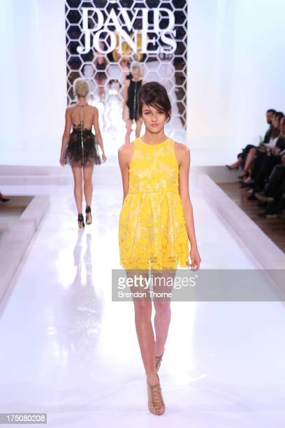 A model showcases designs by Alex Perry at the David Jones Spring/Summer 2013 Collection Launch at David Jones Elizabeth Street on July 31 2013 in...