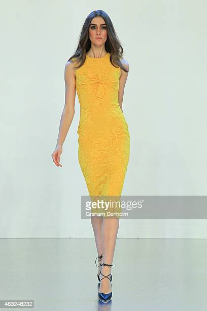 A model showcases designs by Alex Perry during the Myer A/W 2015 Season Launch at Myer Mural Hall on February 12 2015 in Melbourne Australia