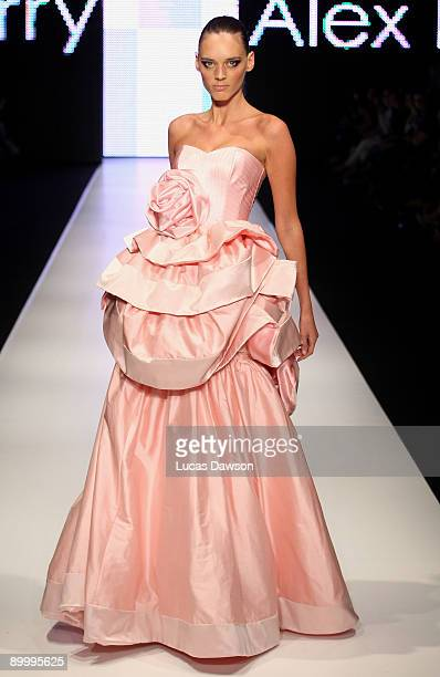 A model showcases designs by Alex Perry on the catwalk on the final day of Rosemount Sydney Fashion Festival 2009 at Martin Place Collection Showroom...