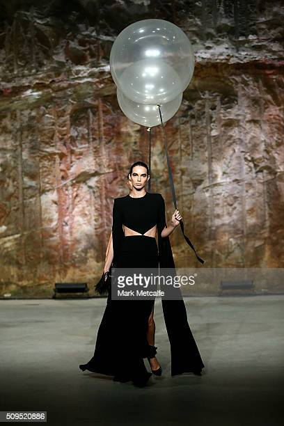 A model showcases designs by Alex Perry on the runway at the Myer AW16 Fashion Launch on February 11 2016 in Sydney Australia