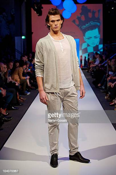 Model showcases designs by Alexandra King during the Student Runway show as part of Perth Fashion Week 2010 at Fashion Paramount on September 13,...