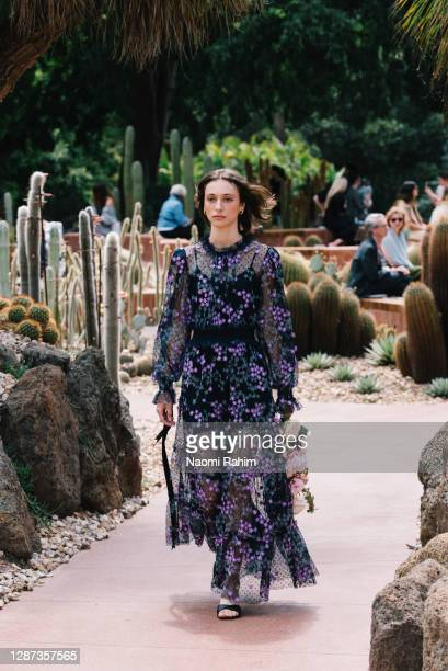 Model showcases designs by Alice McCall during the Arid Garden Runway as part of Melbourne Fashion Week on November 24, 2020 in Melbourne, Australia.