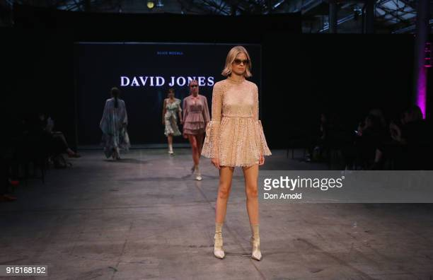 A model showcases designs by Alice McCall during the media rehearsal ahead of the David Jones Autumn Winter 2018 Collections Launch at Australian...