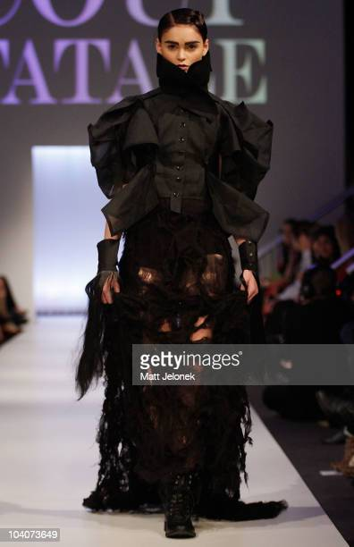Model showcases designs by Aly Meyer during the Student Runway show as part of Perth Fashion Week 2010 at Fashion Paramount on September 13, 2010 in...