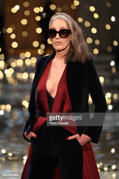A model showcases designs by Andrea Moore on the runway at New Zealand Fashion Week 2017 on August 29 2017 in Auckland New Zealand
