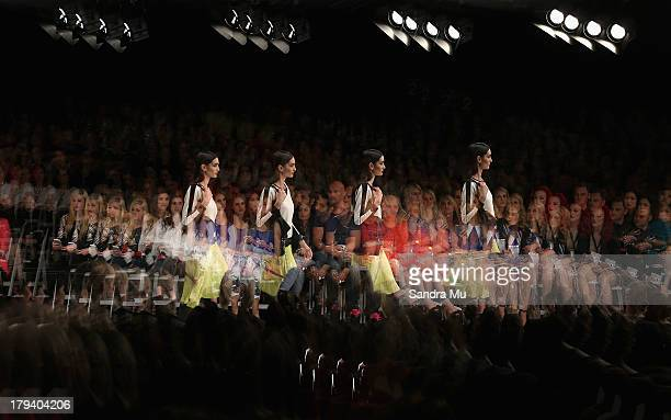 Model showcases designs by Andrea Moore on the runway during New Zealand Fashion Week at the Viaduct Events Centre on September 3, 2013 in Auckland,...