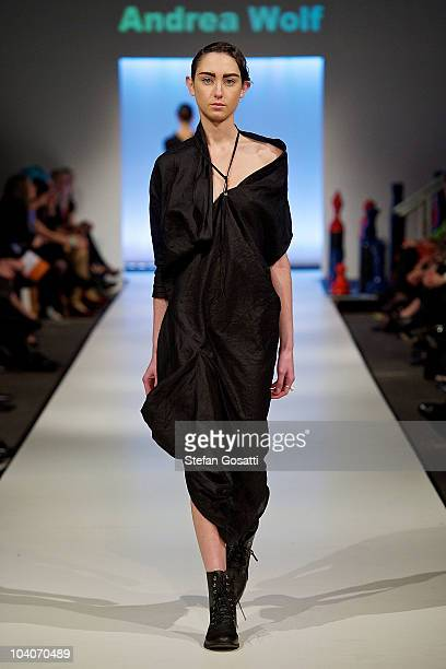 Model showcases designs by Andrea Wolf during the Student Runway show as part of Perth Fashion Week 2010 at Fashion Paramount on September 13, 2010...