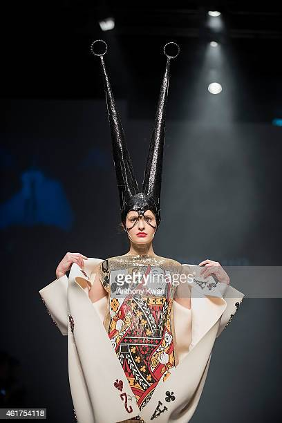 A model showcases designs by Andy Ho on the runway during the Brand Collections' Show on day 1 of Hong Kong Fashion Week Fall/Winter 2015 at the Hong...