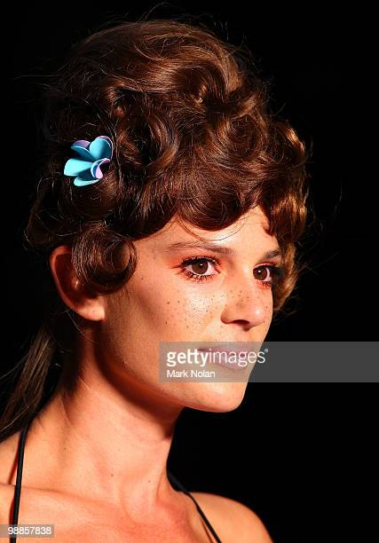A model showcases designs by Anna Boy on the catwalk on the third day of Rosemount Australian Fashion Week Spring/Summer 2010/11 at the Overseas...