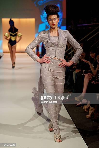 Model showcases designs by Anna Jacoba Hohnen during the Student Runway show as part of Perth Fashion Week 2010 at Fashion Paramount on September 13,...