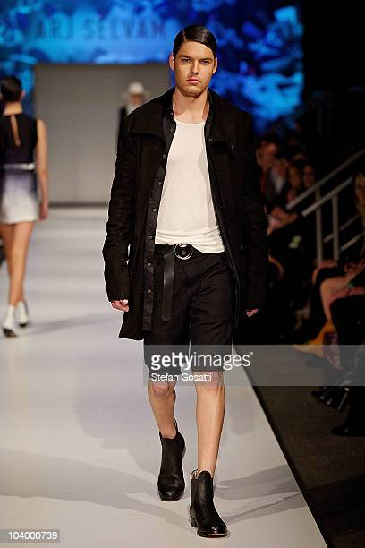 A model showcases designs by Arj Selvam during the WA Designers Collection 2 catwalk show as part of Perth Fashion Week 2010 at Fashion Paramount on...