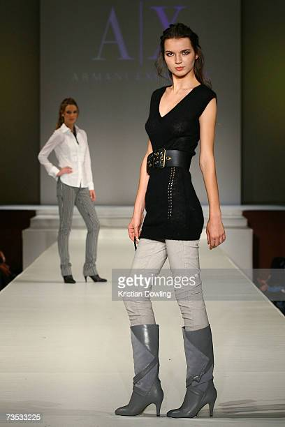 A model showcases designs by Armani Exchange at the Salon Show 5 on the fifth day of the L'Oreal Melbourne Fashion Festival 2007 at the Prahran Town...