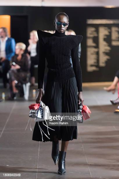 Model showcases designs by Balenciaga during the Gala Runway at Melbourne Fashion Festival at National Gallery of Victoria on March 11, 2021 in...