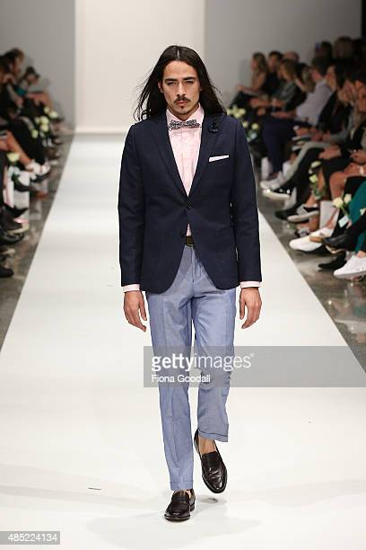 A model showcases designs by Barkers during the New Zealand Weddings Magazine Collection show at New Zealand Fashion Week 2015 on August 26 2015 in...