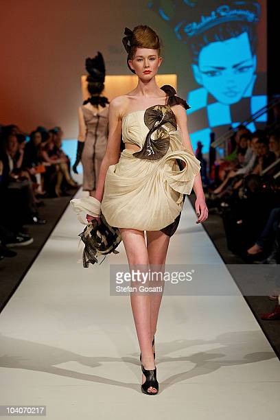 Model showcases designs by Bea Cho during the Student Runway show as part of Perth Fashion Week 2010 at Fashion Paramount on September 13, 2010 in...