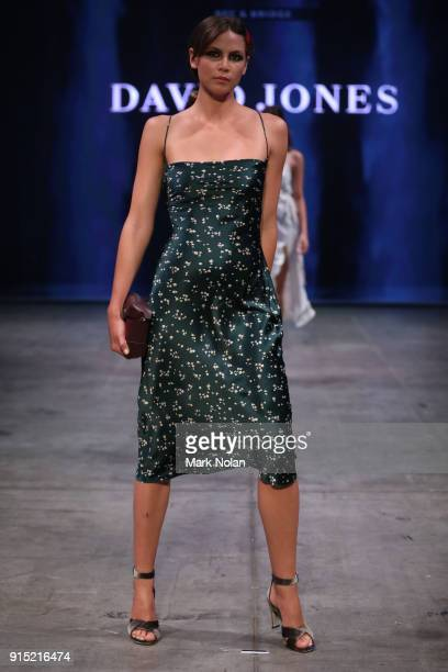 A model showcases designs by Bec and Bridge during the media rehearsal ahead of the David Jones Autumn Winter 2018 Collections Launch at Australian...