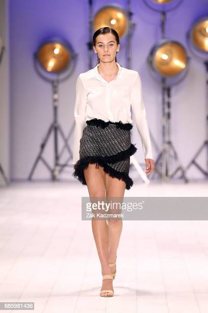 A model showcases designs by Bec Bridge during MercedesBenz Fashion Week Weekend Edition at Carriageworks on May 20 2017 in Sydney Australia