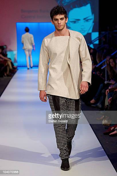 Model showcases designs by Benjamin Rankin during the Student Runway show as part of Perth Fashion Week 2010 at Fashion Paramount on September 13,...