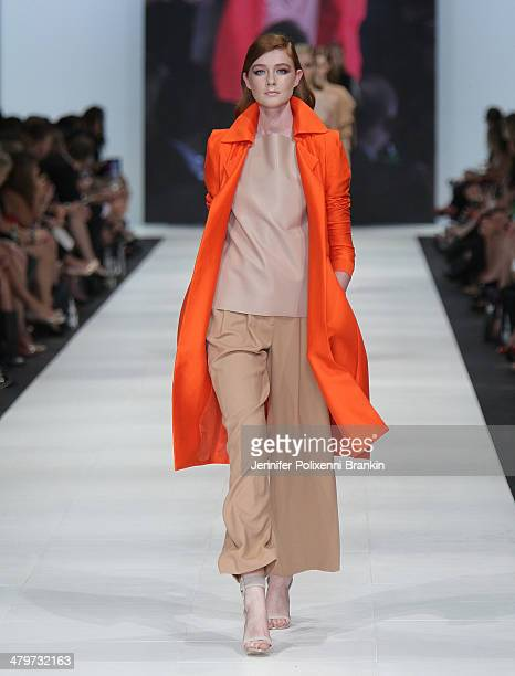 A model showcases designs by Bianca Spender on the runway during the Premium Runway 4 Presented by Elle Australia show at Melbourne Fashion Festival...