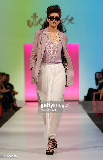 Model showcases designs by Billie & Rose during the Fifteen Minutes - Rise of the Fashion Bloggers collection catwalk show as part of Perth Fashion...