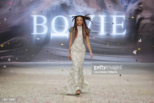A model showcases designs by Bowie on the catwalk as part of the MercedesBenz Fashion Festival Sydney 2012 on August 25 2012 in Sydney Australia