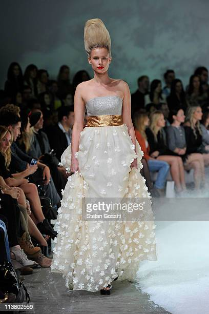 A model showcases designs by Bowie on the catwalk during Rosemount Australian Fashion Week Spring/Summer 2011/12 at Overseas Passenger Terminal on...