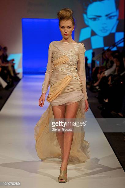 Model showcases designs by Brooke Da Cruz during the Student Runway show as part of Perth Fashion Week 2010 at Fashion Paramount on September 13,...