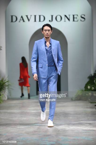 A model showcases designs by Calibre during the David Jones Spring Summer 18 Collections Launch at Fox Studios on August 8 2018 in Sydney Australia