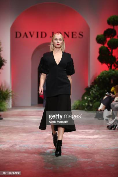 A model showcases designs by Camilla and Marc during the David Jones Spring Summer 18 Collections Launch at Fox Studios on August 8 2018 in Sydney...