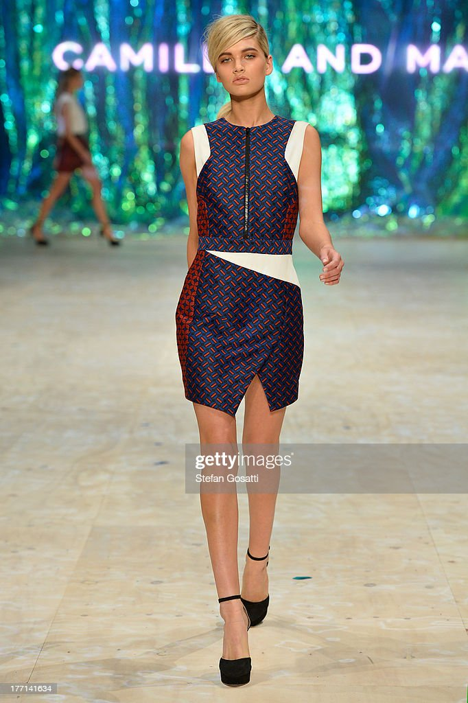 A model showcases designs by Camilla and Marc on the runway at the MBFWA Trends show during Mercedes-Benz Fashion Festival Sydney 2013 at Sydney Town Hall on August 21, 2013 in Sydney, Australia.