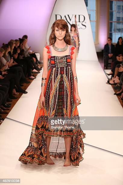Model showcases designs by Camilla during a rehearsal ahead of the David Jones Spring/Summer 2014 Collection Launch at David Jones Elizabeth Street...