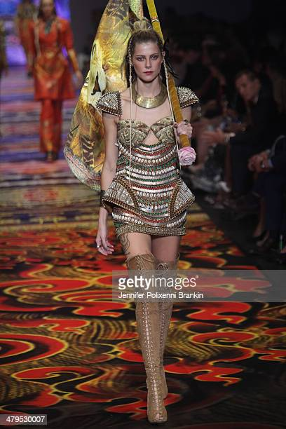 A model showcases designs by Camilla Franks on the runway during the Camilla show at Melbourne Fashion Festival on March 19 2014 in Melbourne...