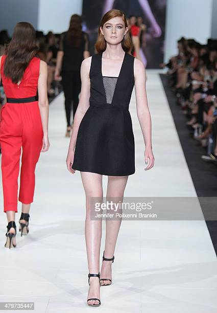 A model showcases designs by Camilla Marc on the runway during the Premium Runway 4 Presented by Elle Australia show at Melbourne Fashion Festival on...