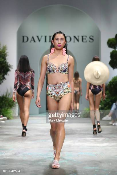 A model showcases designs by Camilla Swim during the media rehearsal ahead of the David Jones Spring Summer 18 Collections Launch at Fox Studios on...