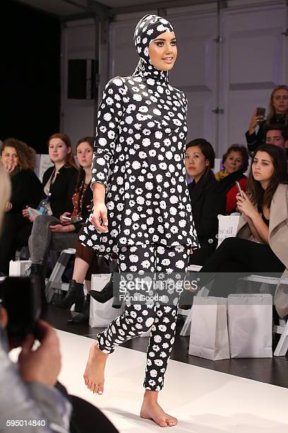 A model showcases designs by Carena West on the runway during 2016 New Zealand Fashion Week on August 25 2016 in Auckland New Zealand