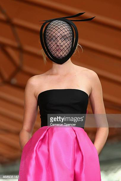 A model showcases designs by Carla Zampatti during her 50th anniversary show at Sydney Opera House on April 8 2015 in Sydney Australia